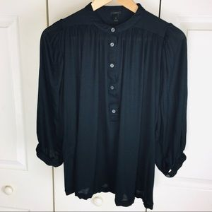 J. Crew Black Drapey Popover Top Modal Cotton Sz M